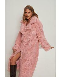 NA-KD Trend Oversize Teddymantel - Pink
