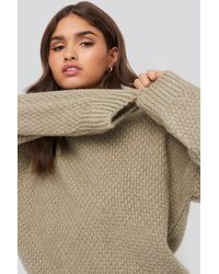 NA-KD Oversize Knitted Polo Sweater - Neutre