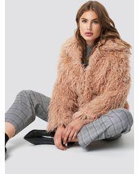 NA-KD Faux Fur Short Jacket - Roze