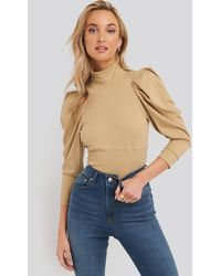 Trendyol Puff Sleeve Corded Knit Top - Natur