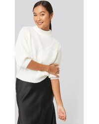 NA-KD Felicia Wedin Mid Sleeve Knitted Sweater - Wit