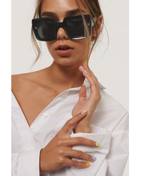 NA-KD Grote Vierkante Retro-zonnebril - Zwart