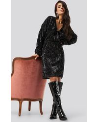 NA-KD - Party Balloon Sleeve V-Neck Sequins Dress - Lyst