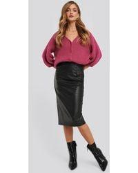 NA-KD Black Faux Leather Midi Skirt