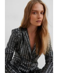 NA-KD Sequin Glittery Blazer - Zwart