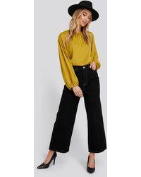 Trendyol Stitching Detailed High Waist Wide Leg Jeans - Zwart