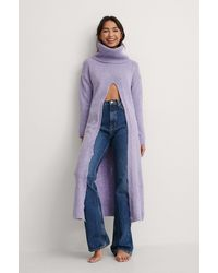 Trendyol Purple Long Slit Sweater