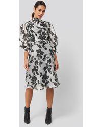 NA-KD High Neck Puff Quarter Sleeve Dress - Meerkleurig