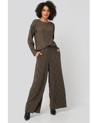 NA-KD Brown Creased Effect Loose Fit Trousers