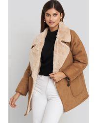 NA-KD Brown,beige Faux Suede Fur Bonded Jacket - Multicolour