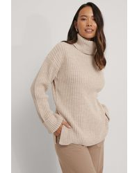 NA-KD Beige Ribbed Knitted Turtleneck Side Slit Jumper - Natural