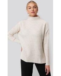 Trendyol - Vertical Neck Side Slit Knitted Sweater - Lyst