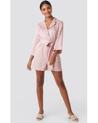 NA-KD Striped Playsuit - Pink