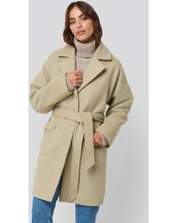 NA-KD Oversized Midi Coat - Naturel