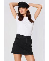 Mango Frayed Edges Denim Skirt - Zwart