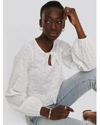 NA-KD - White Embroidery Frill Blouse - Lyst