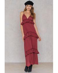 Boohoo - Ruffle Strap Maxi Dress Berry - Lyst