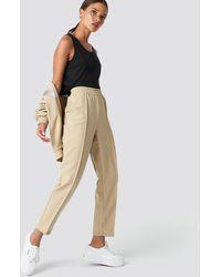 NA-KD Elastic Waist Seamline Pants - Naturel