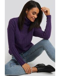Trendyol Ribbed Turtleneck Knitted Sweater - Lila