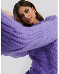 NA-KD Regular Cable Knitted Sweater - Violet