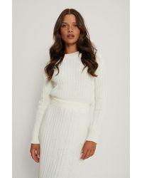 NA-KD White Ribbed Knitted Flared Skirt