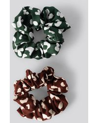 NA-KD Double Pack Patterned Scrunchies - Meerkleurig