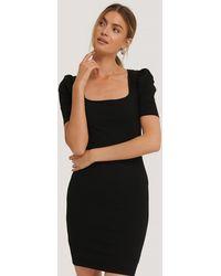 NA-KD - Ribbed Puff Sleeve Dress - Lyst