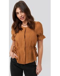 NA-KD Trend Tied Detail Puff Sleeve Blouse - Mehrfarbig