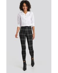 NA-KD Check Leggings - Zwart