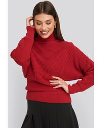 NA-KD Folded Knitted Sweater - Rot