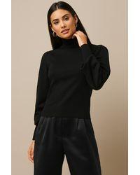 NA-KD Nicki x High Neck Puff Sleeve Sweater - Schwarz