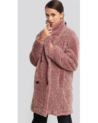NA-KD Long Teddy Coat - Meerkleurig