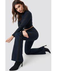 NA-KD - Glitter Sporty Striped Pants Dark Blue - Lyst 96a70a48b
