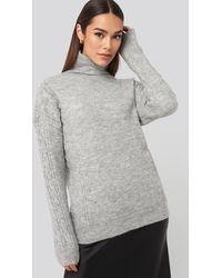 Trendyol Turtleneck Sleeve Detailed Knitted Sweater - Grijs