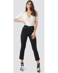 NA-KD Black Mid Rise Cropped Flared Jeans