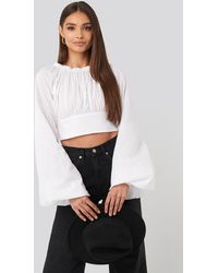 NA-KD Cropped Balloon Sleeve Cotton Blouse - Wit
