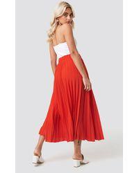 NA-KD Midi Pleated Skirt - Rot