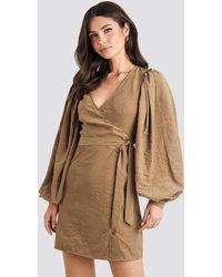 NA-KD - Trend Puff Sleeve Tie Waist Dress - Lyst