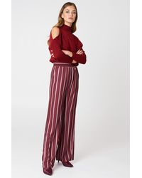 NA-KD High Waist Wide Pants - Rouge