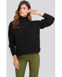 NA-KD Turtleneck Oversized Knitted Sweater - Zwart