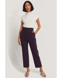 NA-KD Cropped Pantalon Met Hoge Taille - Paars