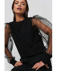 NA-KD Black Long Organza Sleeve Sweatshirt