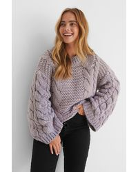 NA-KD - Purple Chunky Cable Knitted Sweater - Lyst