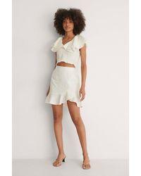 NA-KD White Bottom Flounce Mini Skirt