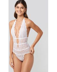 NA-KD Plunge Lace Bodysuit - Wit