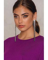 NA-KD - Wide Hanging Rhinestone Earrings - Lyst