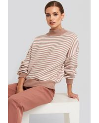 NA-KD Striped Balloon Sleeve Knitted Sweater - Meerkleurig