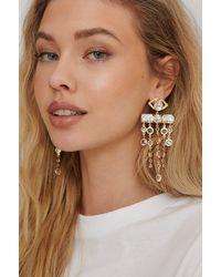 NA-KD Accessories Oversize Glass Drop Earrings - Mettallic