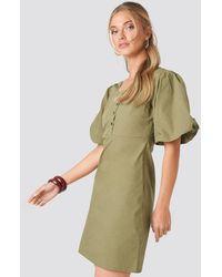 NA-KD Short Puff Sleeve Button Up Dress - Vert