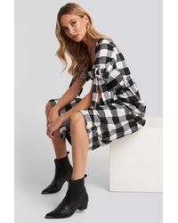 Trendyol Black Plaid Belted Dress - Zwart
